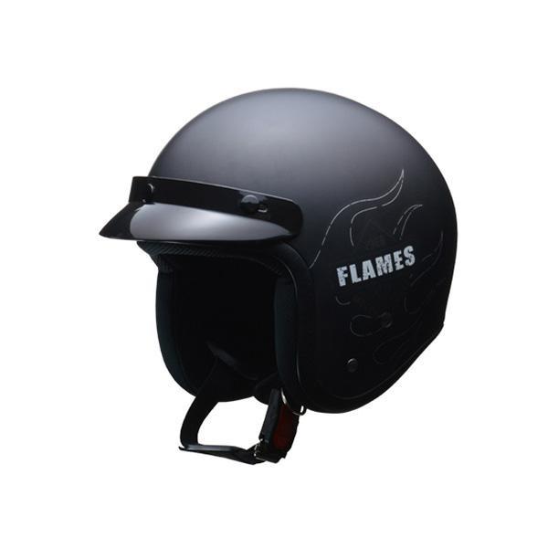 リード工業 LEAD FLAMES スモールジェットヘルメット マットブラック フリーサイズ【代引不可】【北海道・沖縄・離島配送不可】