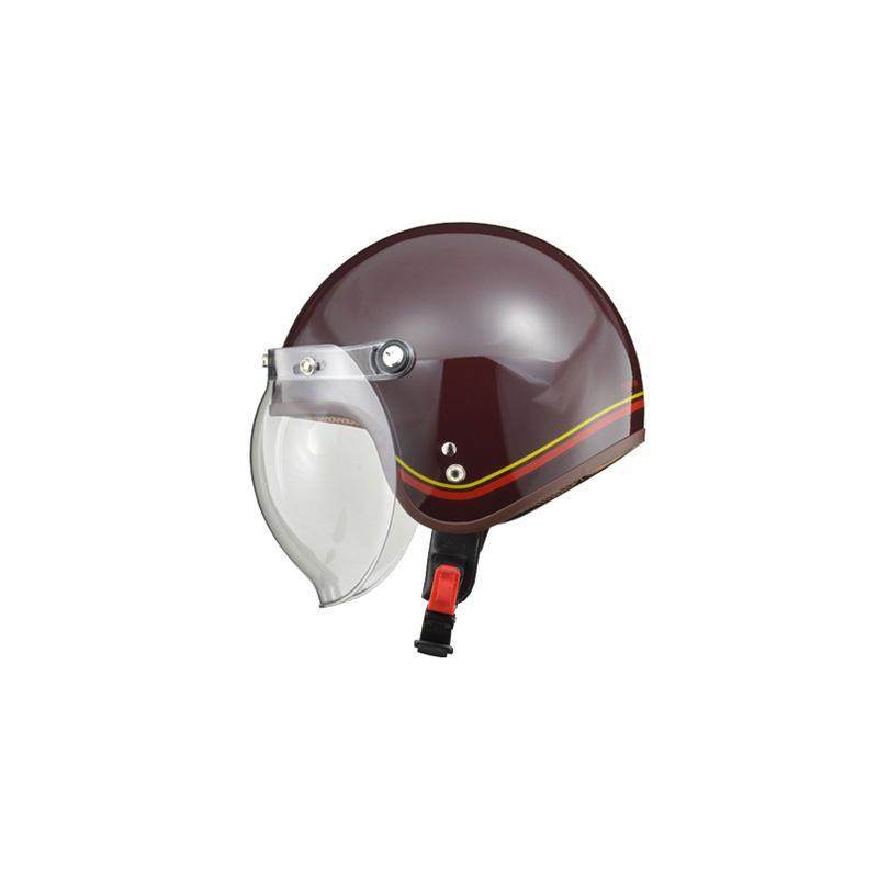 リード工業 LEAD NOVIA(ノービア) バブルシールド付スモールロージェットヘルメット ラインブラウン レディースフリーサイズ【代引不可】【北海道・沖縄・離島配送不可】