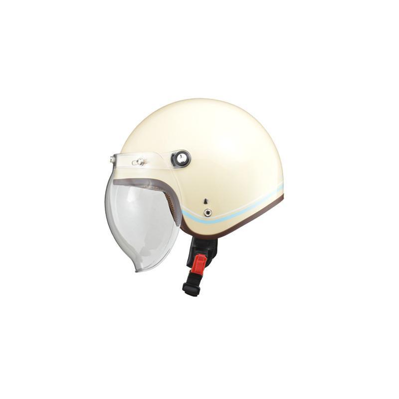 リード工業 LEAD NOVIA(ノービア) バブルシールド付スモールロージェットヘルメット ラインアイボリー レディースフリーサイズ【代引不可】【北海道・沖縄・離島配送不可】