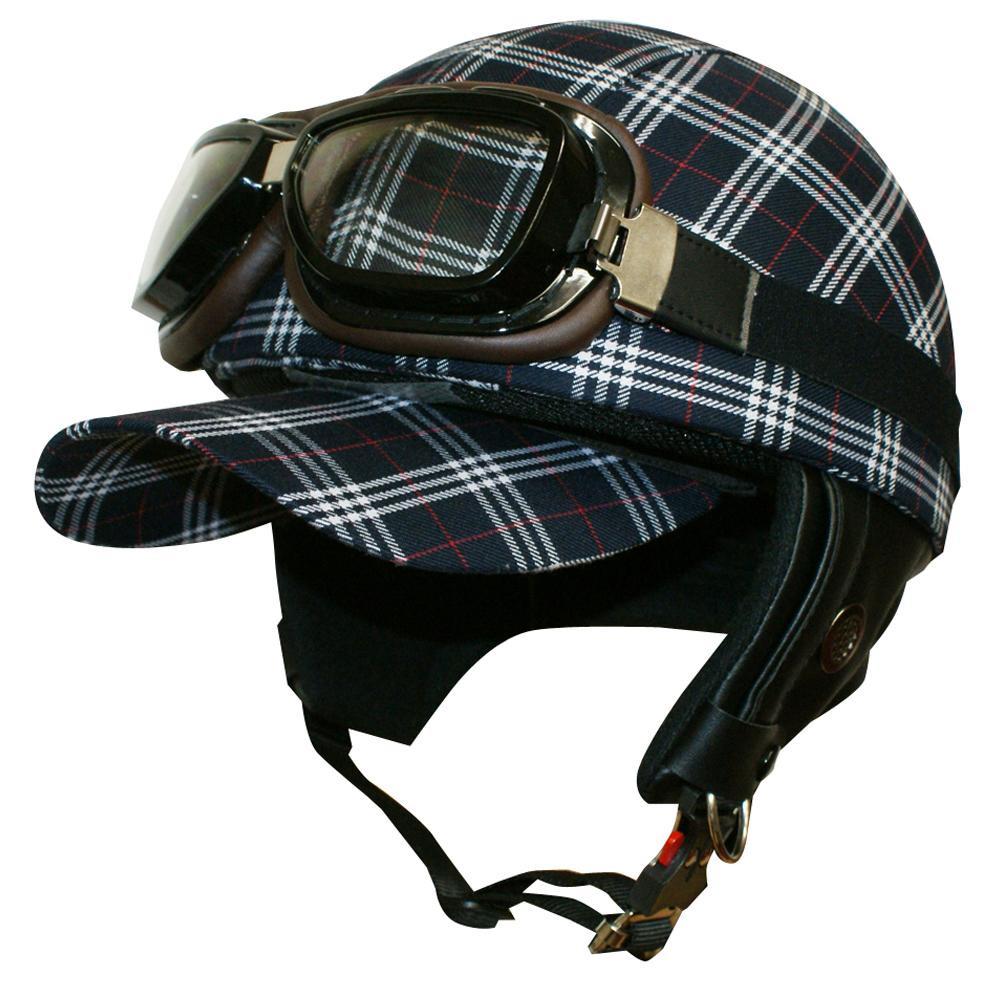 ダムトラックス(DAMMTRAX) バイクヘルメット スクールチェック NAVY【代引不可】【北海道・沖縄・離島配送不可】