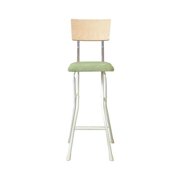 ルネセイコウ 日本製 折りたたみ椅子 フォールディング アッシュウッドチェア ハイ ナチュラル/グリーン AWC-64W【代引不可】
