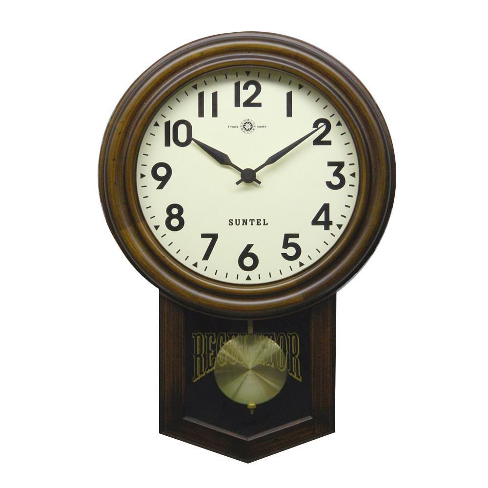 さんてる 日本製 スタンダード 電波振り子時計 (丸型) アンティークブラウン SR06-A (アラビア文字)【代引不可】【北海道・沖縄・離島配送不可】