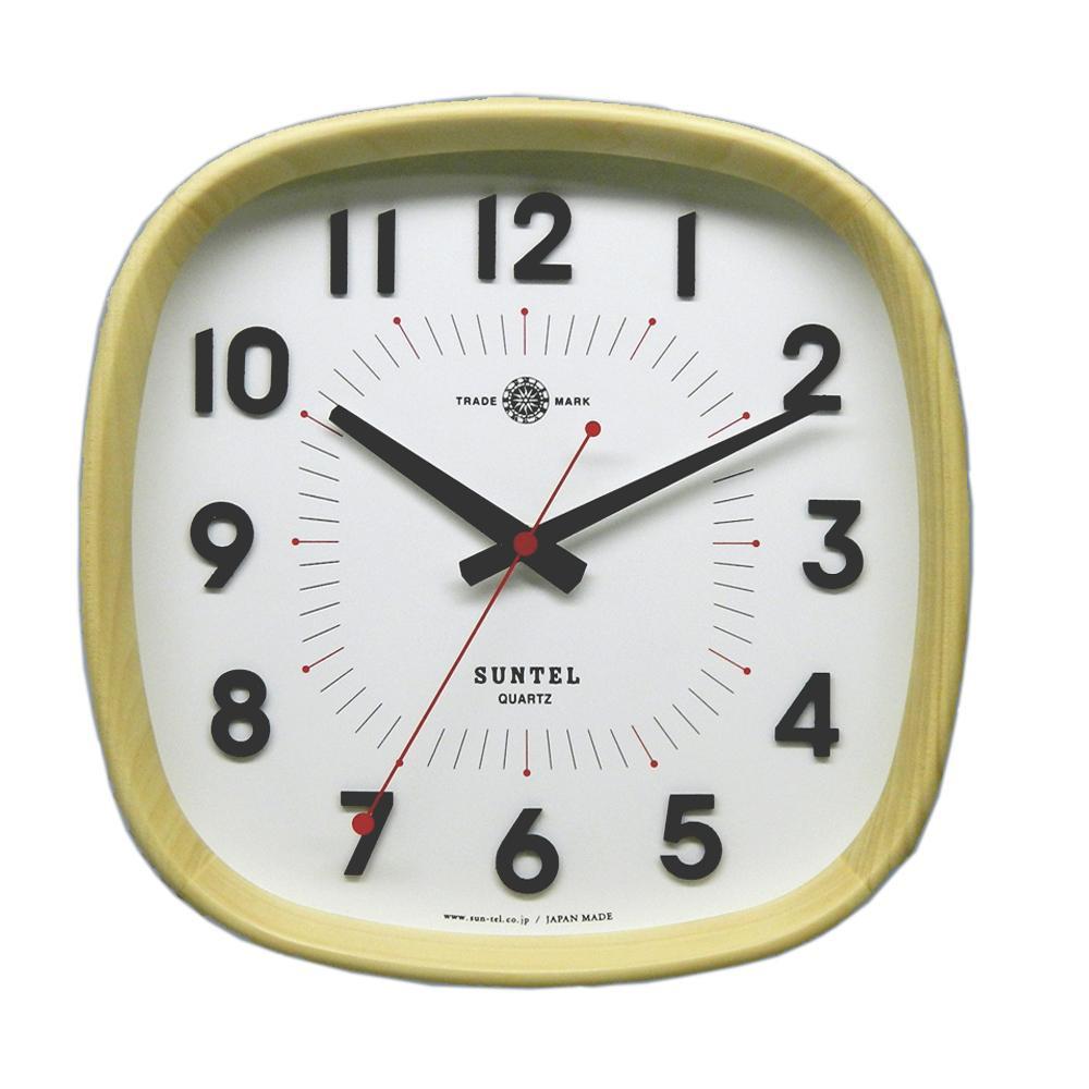 さんてる 日本製 シンプル掛け時計(WARM) ナチュラル DQL697-NA【代引不可】【北海道・沖縄・離島配送不可】