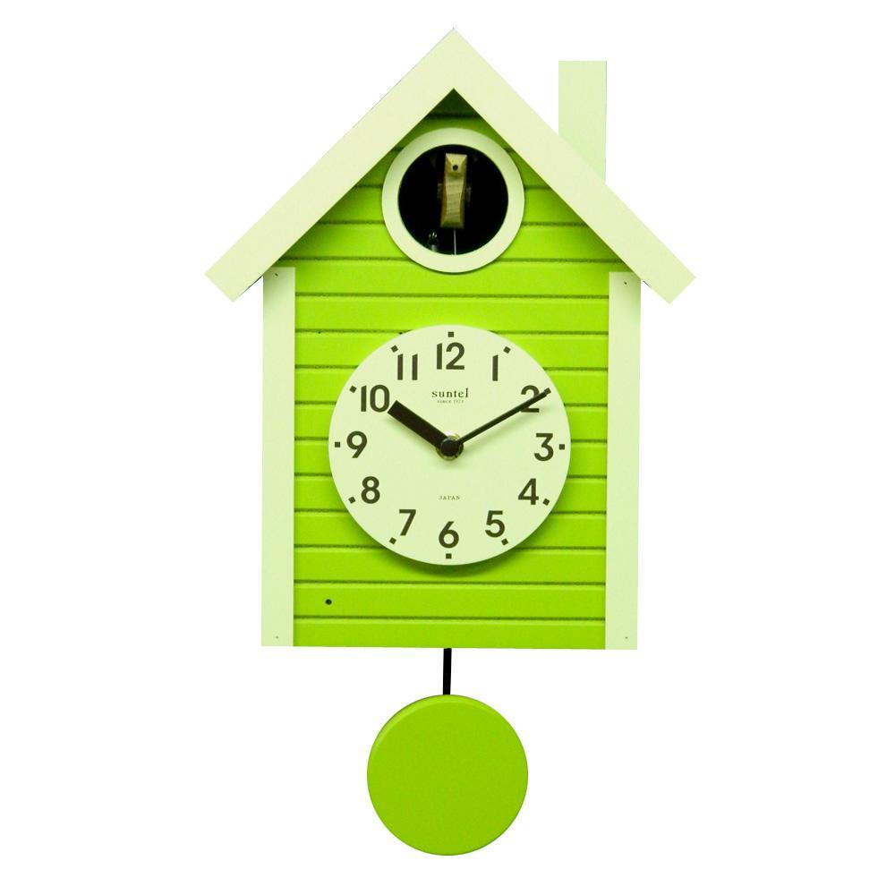 さんてる 日本製 手作り 鳩時計 北欧カラー スプリンググリーン SQ03-SG【代引不可】【北海道・沖縄・離島配送不可】