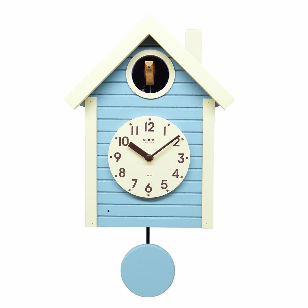 さんてる 日本製 手作り 鳩時計 北欧カラー アクアブルー SQ03-AB【代引不可】【北海道・沖縄・離島配送不可】