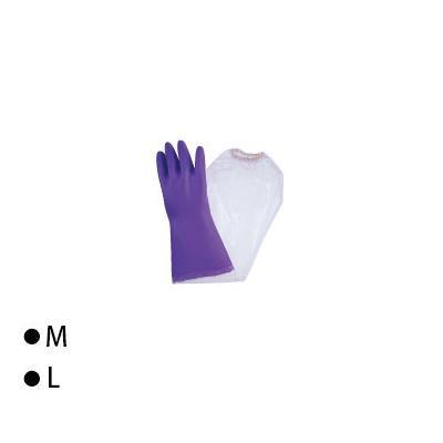 東和コーポレーション(TOWA) 腕カバー付手袋 ビニスター腕カバー付 フルールあつ手 バイオレット 10双 721 L【代引不可】【北海道・沖縄・離島配送不可】