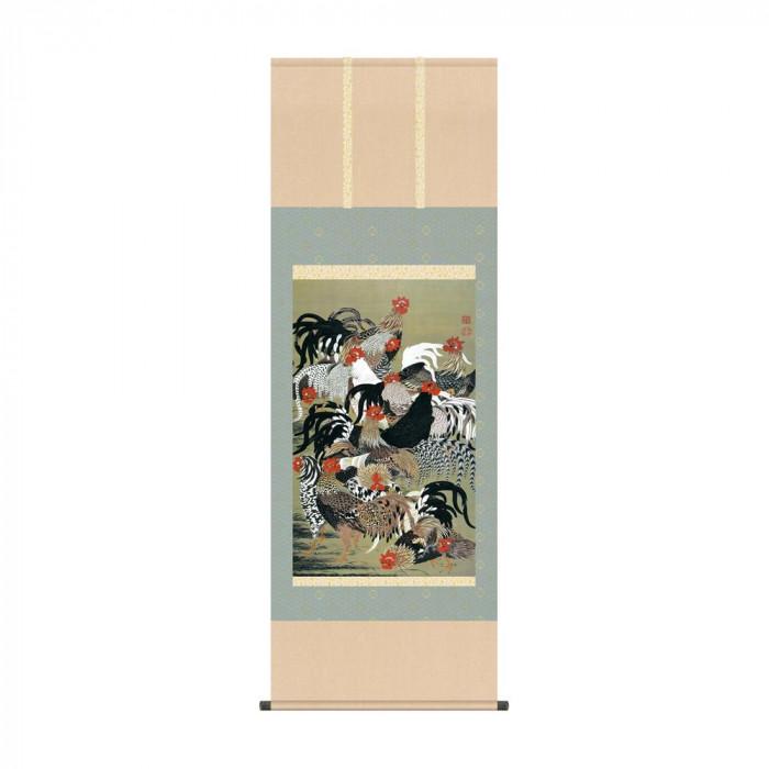 掛軸 伊藤若冲「群鶏図」 KZ2G9-031 54.5×153cm【代引不可】【北海道・沖縄・離島配送不可】