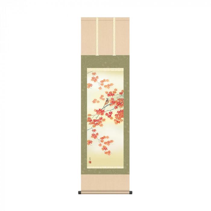 掛軸 田村竹世 「紅葉に小鳥」 KZ2MA4-141 44.5×164cm【代引不可】【北海道・沖縄・離島配送不可】