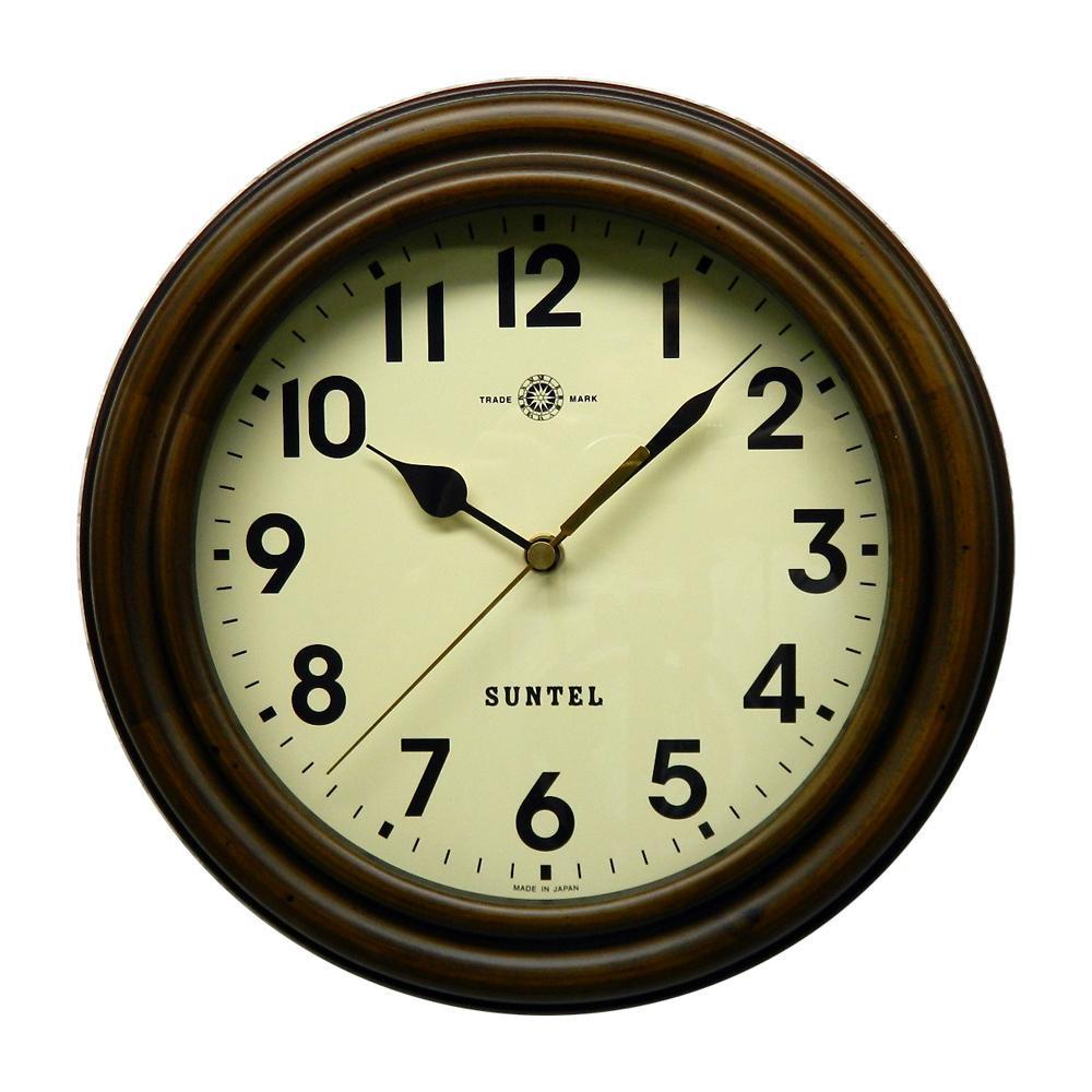 さんてる 日本製 レトロ電波時計 (ろくろ) アンティークブラウン (アラビア文字) SR14-A【代引不可】【北海道・沖縄・離島配送不可】