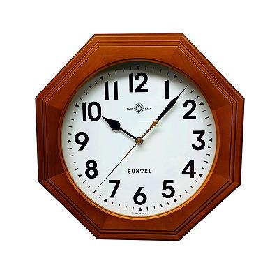 さんてる 日本製 天然木シンプル8角電波掛け時計 ブラウン (アラビア文字) SR15BR-A【代引不可】【北海道・沖縄・離島配送不可】