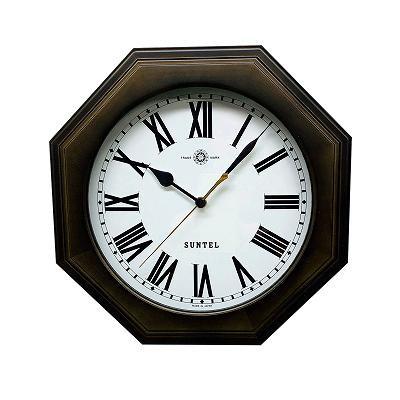 さんてる 日本製 天然木シンプル8角電波掛け時計 ブラック (ローマ文字) SR16DBK-R【代引不可】【北海道・沖縄・離島配送不可】