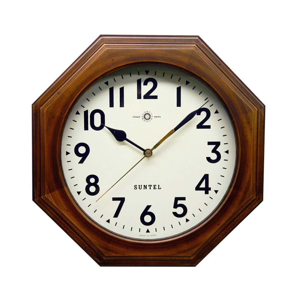 レトロなデザインの電波掛け時計 さんてる 日本製 天然木レトロ8角電波掛け時計 アンティークブラウン アラビア文字 代引不可 離島配送不可 北海道 DQL712BR-A 沖縄 訳あり 人気 おすすめ