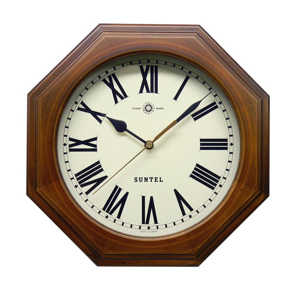 レトロなデザインの電波掛け時計 さんてる 超特価 日本製 天然木レトロ8角電波掛け時計 [宅送] アンティークブラウン ローマ文字 北海道 代引不可 離島配送不可 DQL712BR-R 沖縄