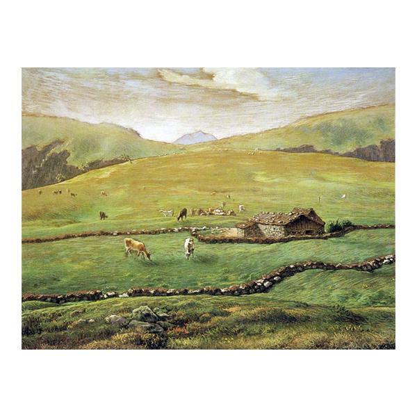 プリハード ジャン・フロンソワ・ミレー ヴォージュ山中の牧場風景 F3号 額縁G 1421【代引不可】【北海道・沖縄・離島配送不可】