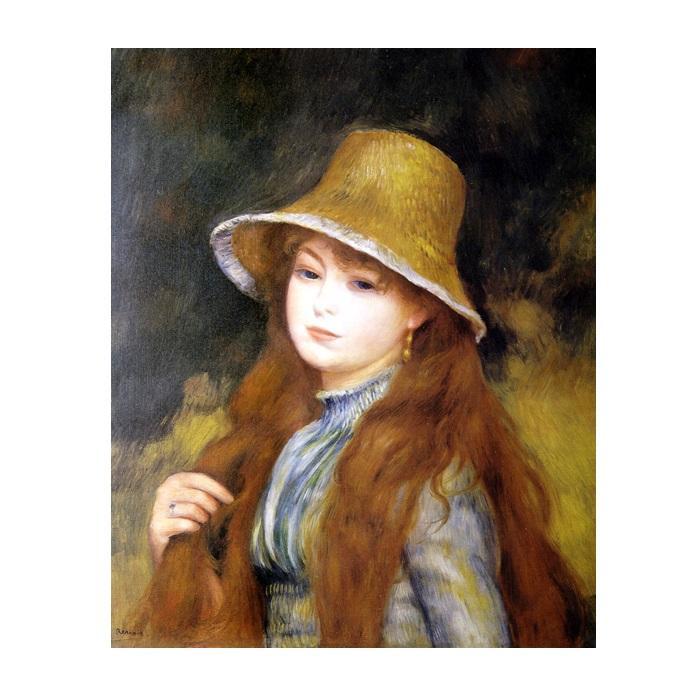 プリハード ピエール・オーギュスト・ルノワール 長い髪をした若い娘 F8号 額縁C 4358【代引不可】【北海道・沖縄・離島配送不可】