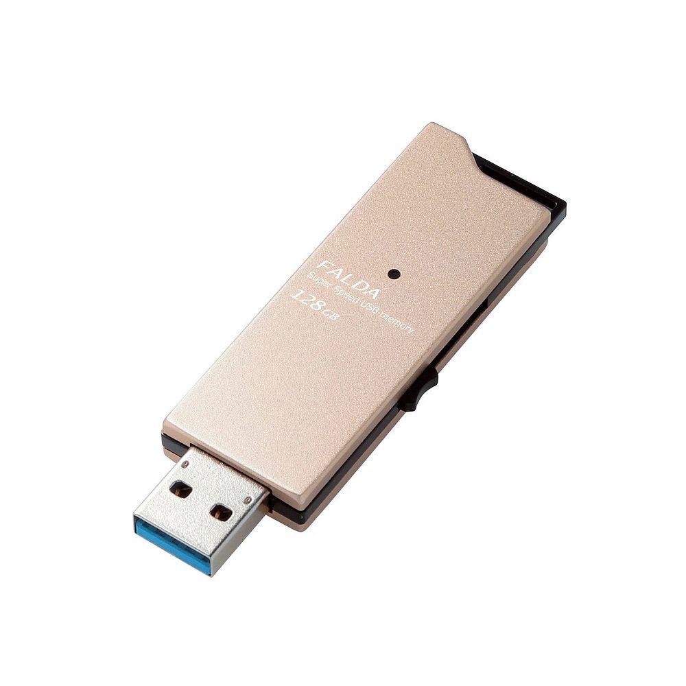 エレコム USBメモリ USB3.0対応 スライド式 高速転送 アルミ素材 128GB ゴールド MF-DAU3128GGD【北海道・沖縄・離島配送不可】