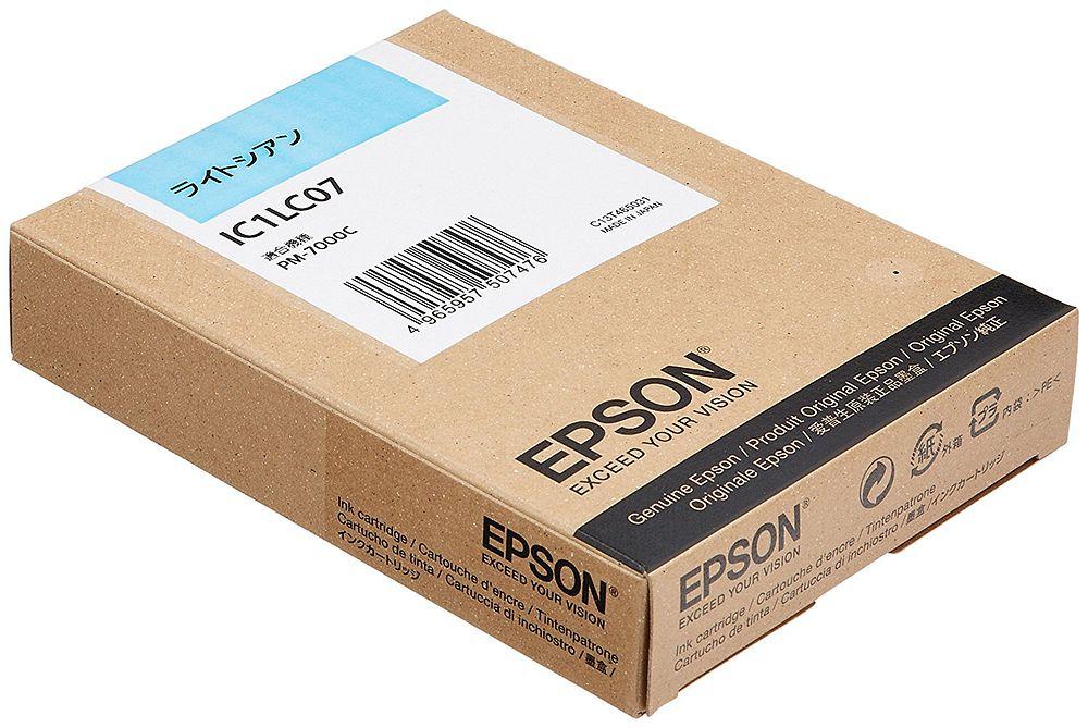 【送料無料】(まとめ買い)エプソン 純正 インクカートリッジ ライトシアン IC1LC07 〔3個セット〕