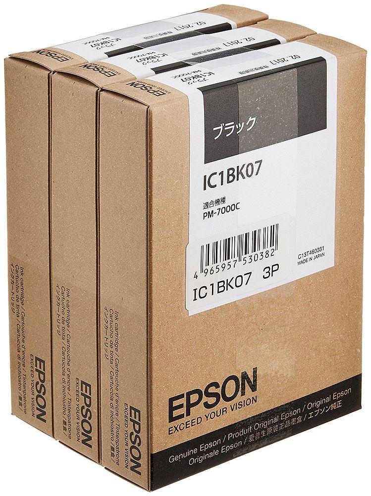 【送料無料】(まとめ買い)エプソン 純正 インクカートリッジ ブラック・3個入 IC1BK073P 〔×3〕