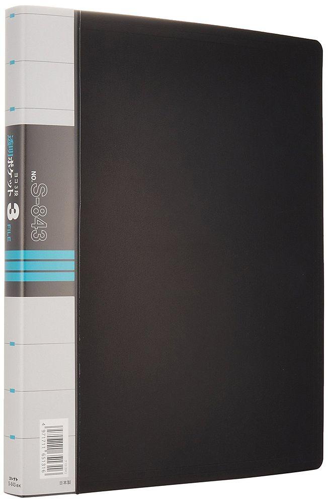 (まとめ買い)コレクト 透明ポケット3ファイル 黒 A4L 30穴 3段 S-843-BK 〔×5〕【北海道・沖縄・離島配送不可】