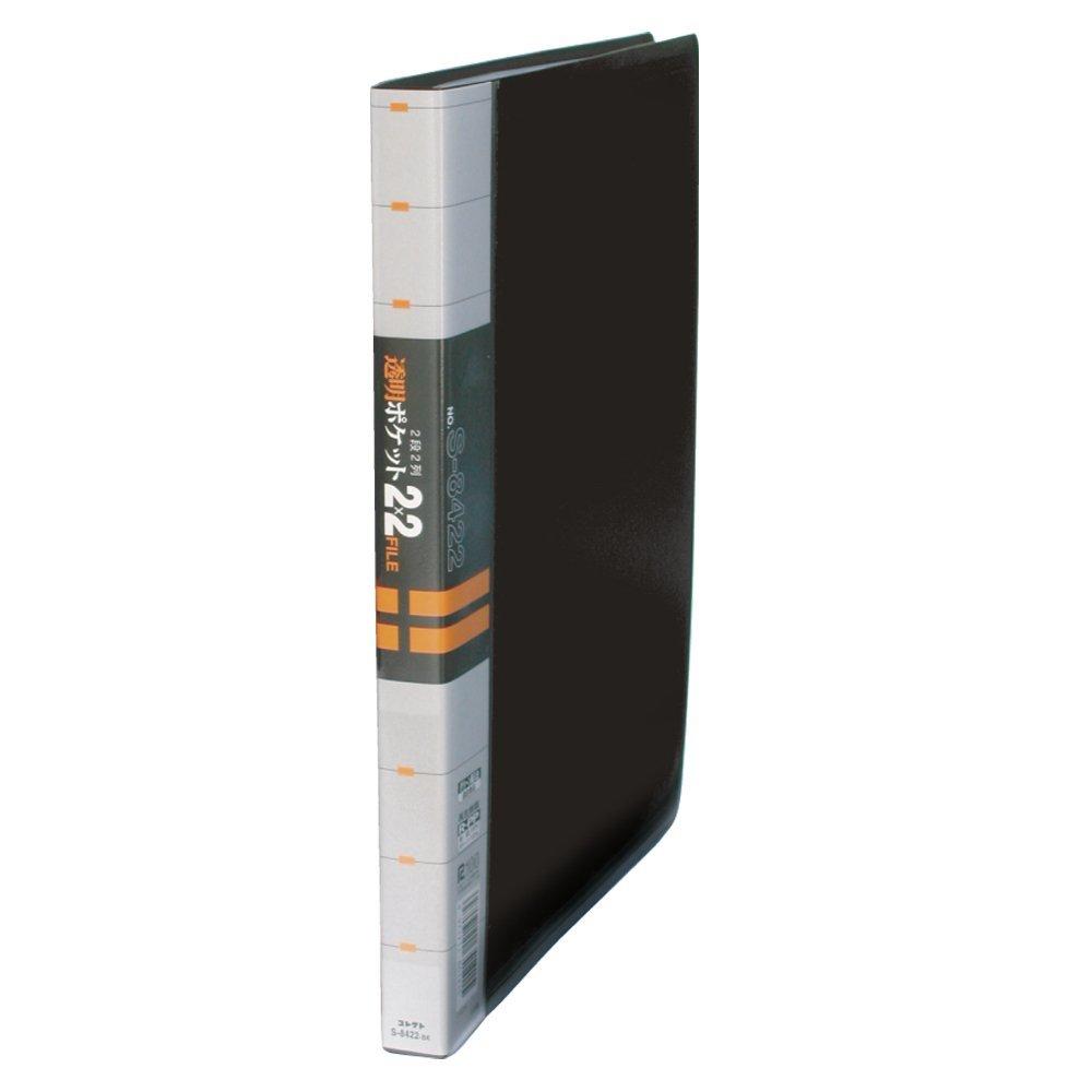 (まとめ買い)コレクト 透明ポケット2X2ファイル 黒 A4L 30穴 2列2段 S-8422-BK 〔×5〕