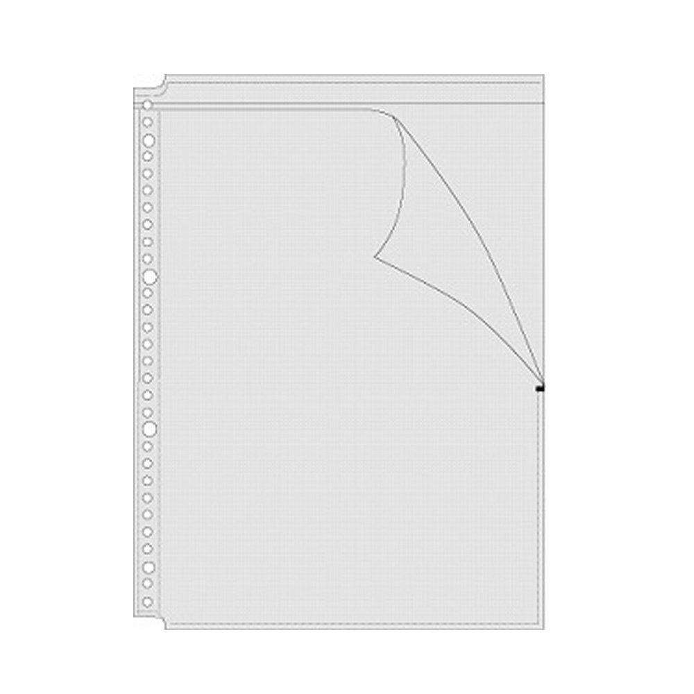 (まとめ買い)コレクト 透明ポケットOファイル ブラック A4-L 30穴 1段 S-840-BK 〔×5〕