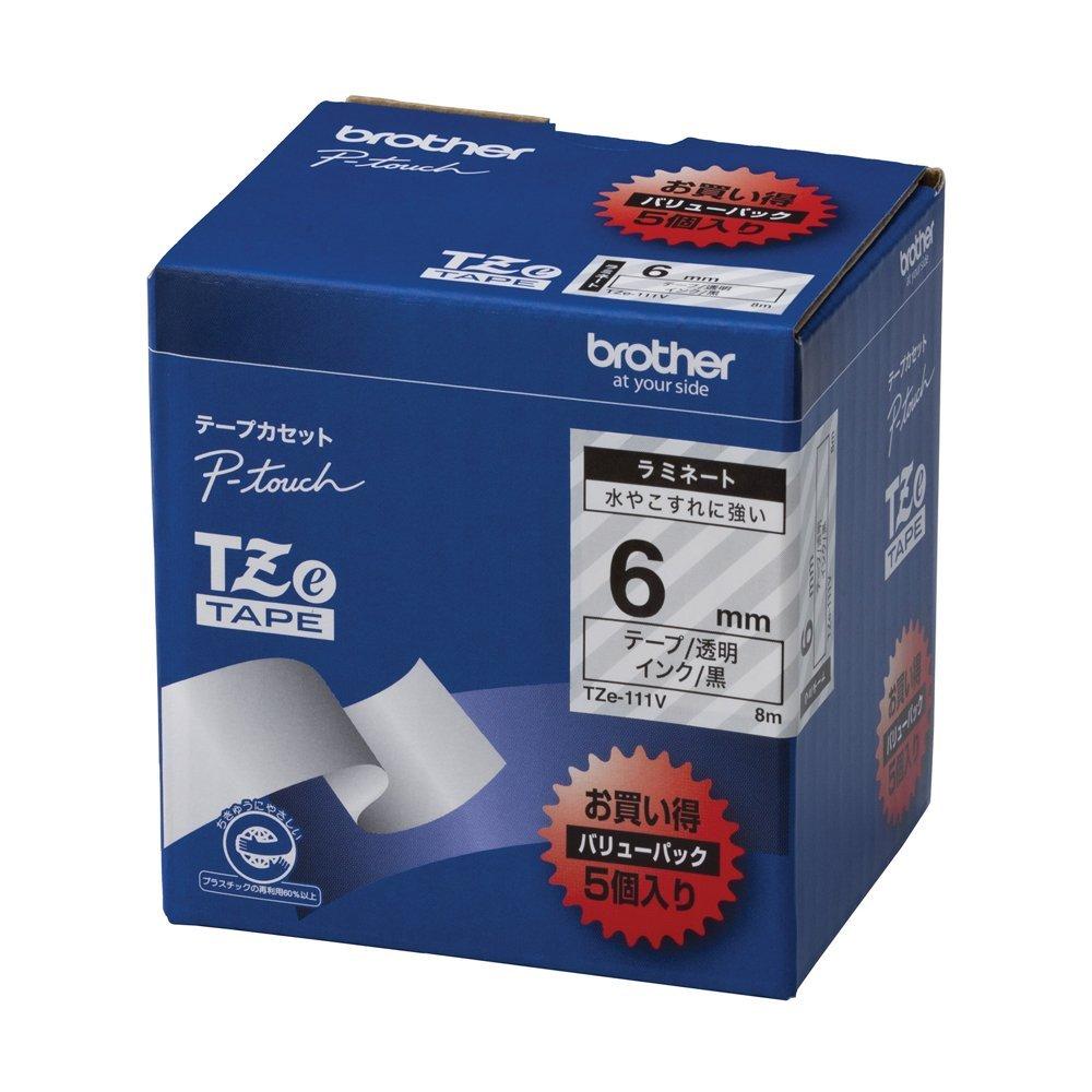 【送料無料】(まとめ買い)ブラザー ピータッチテープ ラミネートテープ 透明地/黒字 6mm 5本パック TZE-111V 〔×3〕