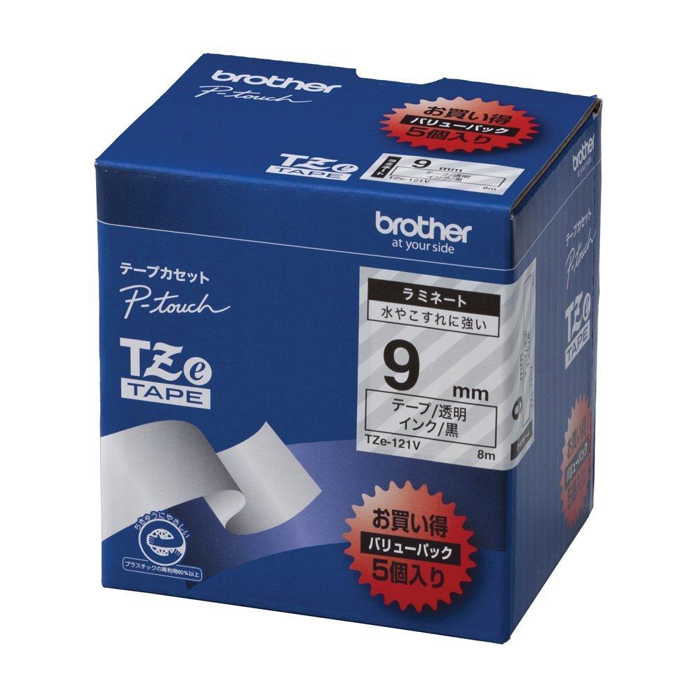 (まとめ買い)ブラザー ピータッチテープ ラミネートテープ 透明地/黒字 9mm 5本パック TZE-121V 〔×3〕【北海道・沖縄・離島配送不可】