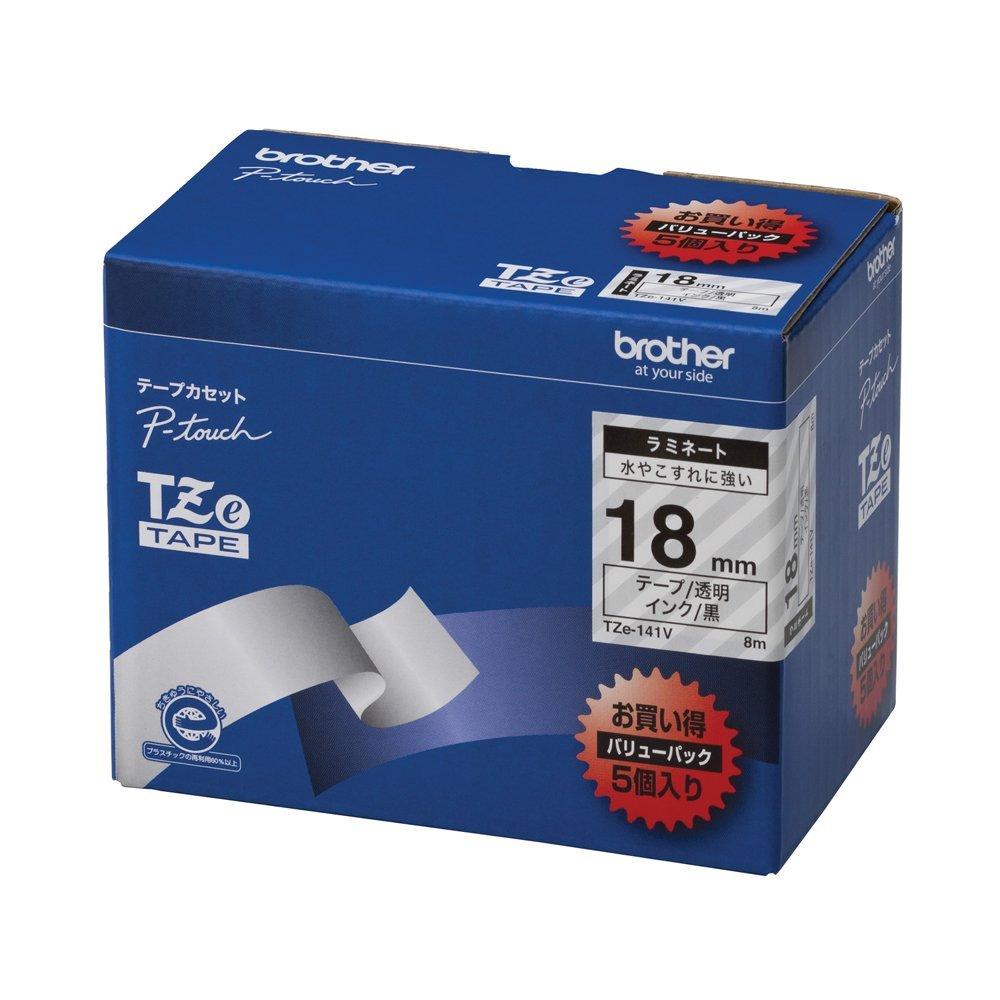【送料無料】(まとめ買い)ブラザー ピータッチテープ ラミネートテープ 透明地/黒字 18mm 5本パック TZE-141V 〔×3〕