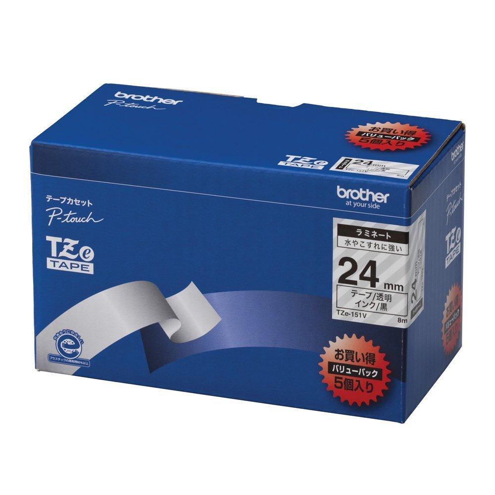 【送料無料】(まとめ買い)ブラザー ピータッチテープ ラミネートテープ 透明地/黒字 24mm 5本パック TZE-151V 〔×3〕