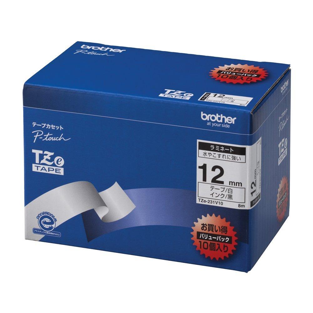(まとめ買い)ブラザー ピータッチテープ ラミネートテープ 白地/黒字 12mm 10本パック TZE-231V10 〔×3〕【北海道・沖縄・離島配送不可】