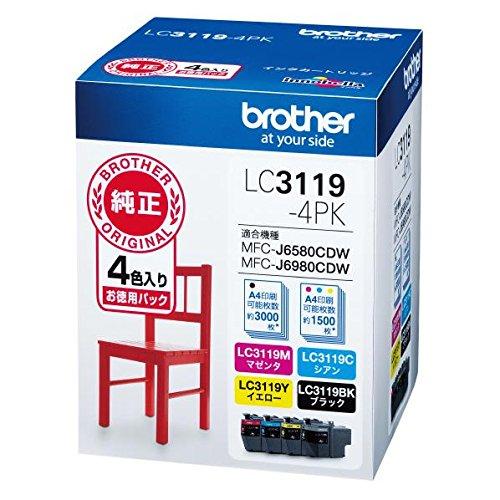 【送料無料】ブラザー 純正 インクカートリッジ 大容量 4色パック LC3119-4PK