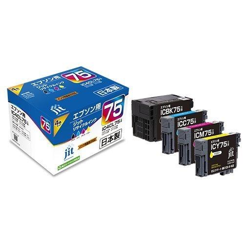 【送料無料】(まとめ買い)ジット リサイクルインクカートリッジ エプソン IC4CL75 4色パック対応 JIT-AE754P 〔×3〕