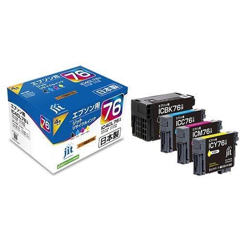 【送料無料】(まとめ買い)ジット リサイクルインクカートリッジ エプソン IC4CL76 4色パック対応 JIT-AE764P 〔×3〕