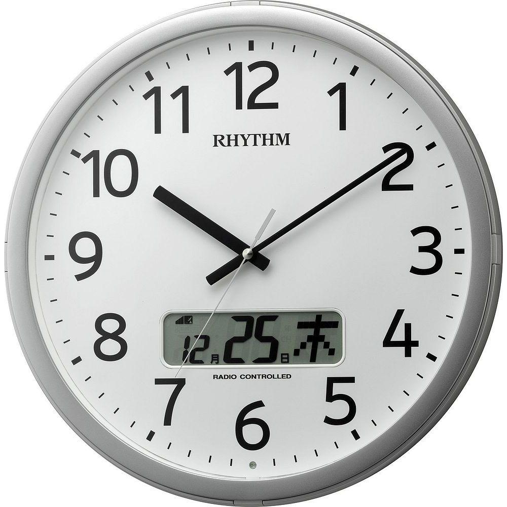 【送料無料】(まとめ買い)リズム時計 電波掛け時計 プログラムカレンダー01SR 4FNA01SR19 〔3台セット〕