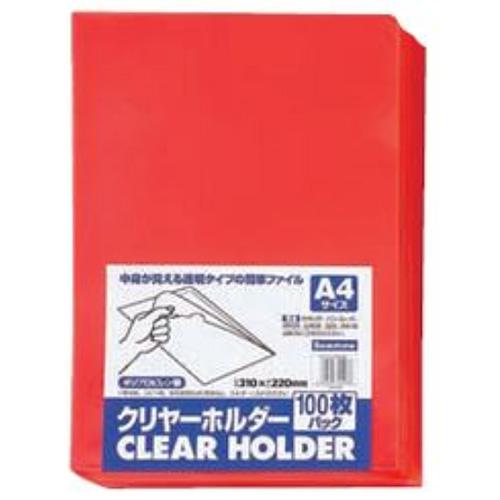 【送料無料】(まとめ買い)ビュートン クリヤーホルダー レッド A4 100枚入パック CH-A4-CR100 〔×10〕