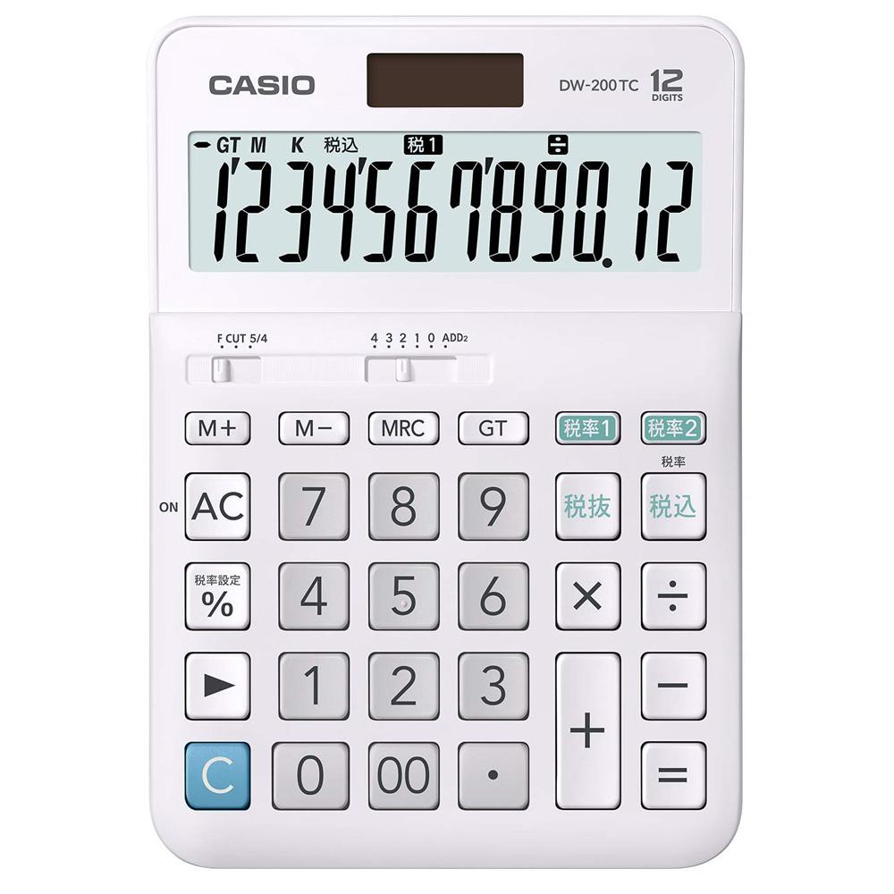 (まとめ買い)カシオ W税率電卓 12桁 デスクタイプ DW-200TC-N 〔3個セット〕