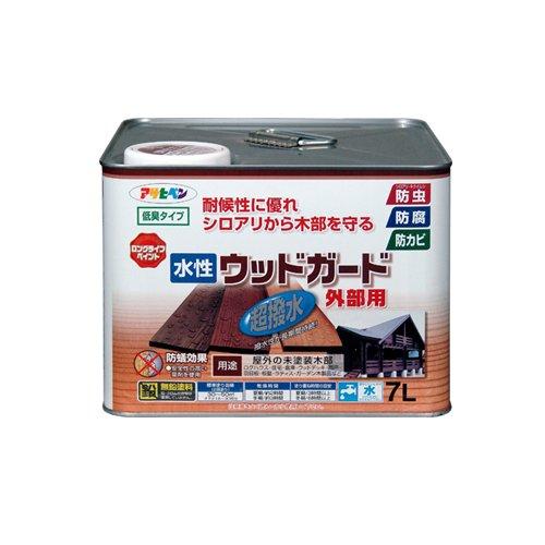 【送料無料】(まとめ買い)アサヒペン 水性ウッドガード外部用 ウォルナット 7L 〔3缶セット〕