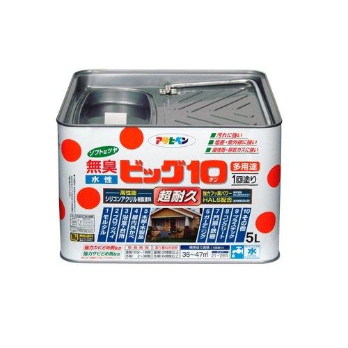 【送料無料】(まとめ買い)アサヒペン 水性ビッグ10多用途 219ミルキーホワイト 5L 〔3缶セット〕