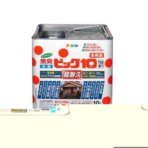(まとめ買い)アサヒペン 水性ビッグ10多用途 227クリーム色 10L 〔3缶セット〕【北海道・沖縄・離島配送不可】