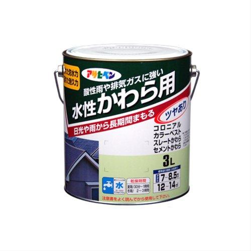 (まとめ買い)アサヒペン 水性かわら用 銀黒 3L 〔3缶セット〕【北海道・沖縄・離島配送不可】