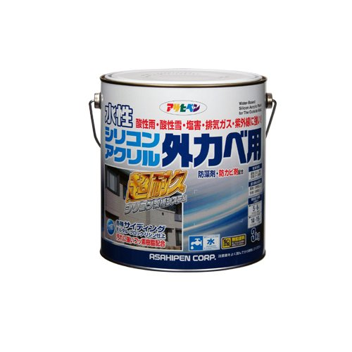 (まとめ買い)アサヒペン 水性シリコンアクリル外カベ用 ウィニーグリーン 3kg 〔3缶セット〕【北海道・沖縄・離島配送不可】