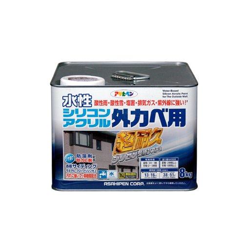 (まとめ買い)アサヒペン 水性シリコンアクリル外かべ用 ソフトグレー 8KG 〔3缶セット〕【北海道・沖縄・離島配送不可】