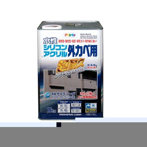 (まとめ買い)アサヒペン 水性シリコンアクリル外かべ用 アイボリー 16KG 〔3缶セット〕【北海道・沖縄・離島配送不可】