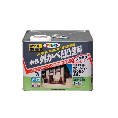 (まとめ買い)アサヒペン 水性外かべ凹凸塗料 ツヤあり ホワイト 7L 〔3缶セット〕【北海道・沖縄・離島配送不可】