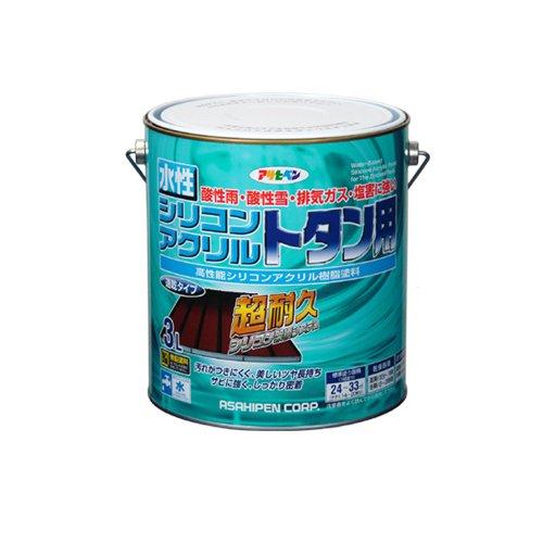 (まとめ買い)アサヒペン 水性シリコンアクリルトタン用 こげ茶 3L 〔3缶セット〕