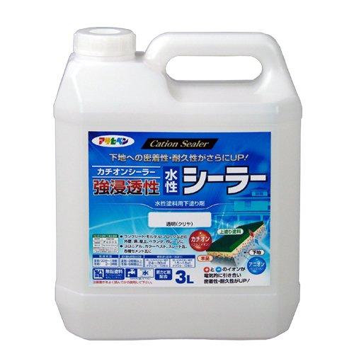 (まとめ買い)アサヒペン 強浸透性水性シーラー 透明(クリヤ) 3L 〔×3〕【北海道・沖縄・離島配送不可】
