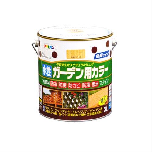 (まとめ買い)アサヒペン 水性ガーデン用カラー 透明(クリヤ) 3L 〔3缶セット〕【北海道・沖縄・離島配送不可】