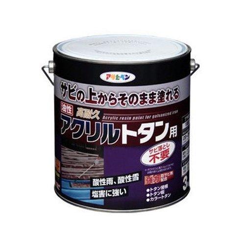 (まとめ買い)アサヒペン 油性高耐久アクリルトタン用 3KG スカイブルー 〔3缶セット〕