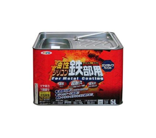 【送料無料】(まとめ買い)アサヒペン 油性シリコン鉄部用 5L こげ茶 〔3缶セット〕