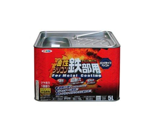 【送料無料】(まとめ買い)アサヒペン 油性シリコン鉄部用 5L ショコラブラウン 〔3缶セット〕